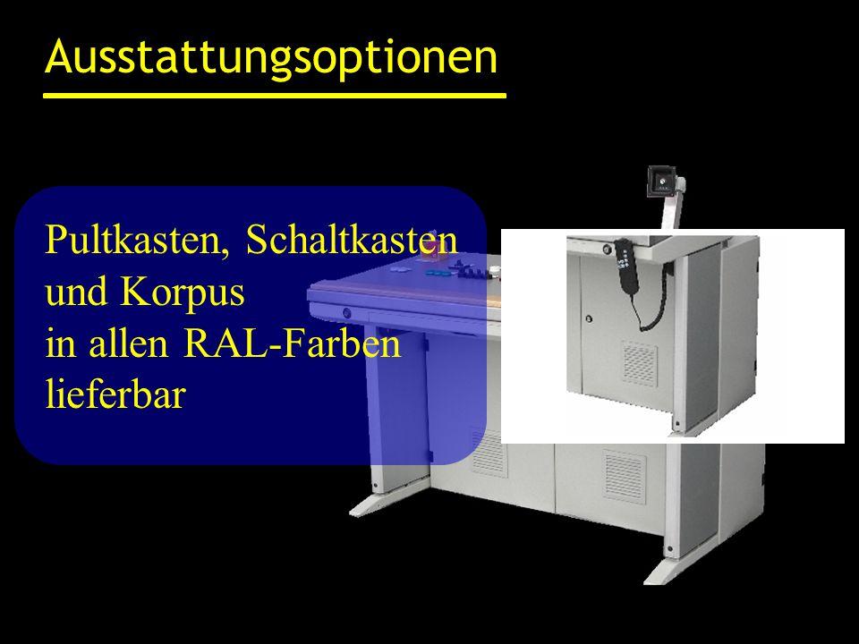 Ausstattungsoptionen Pultkasten, Schaltkasten und Korpus in allen RAL-Farben lieferbar