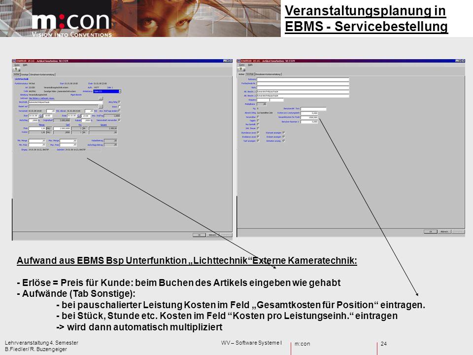 m:con Lehrveranstaltung 4. Semester WV – Software Systeme I B.Fiedler/ R. Buzengeiger 24 Veranstaltungsplanung in EBMS - Servicebestellung Aufwand aus