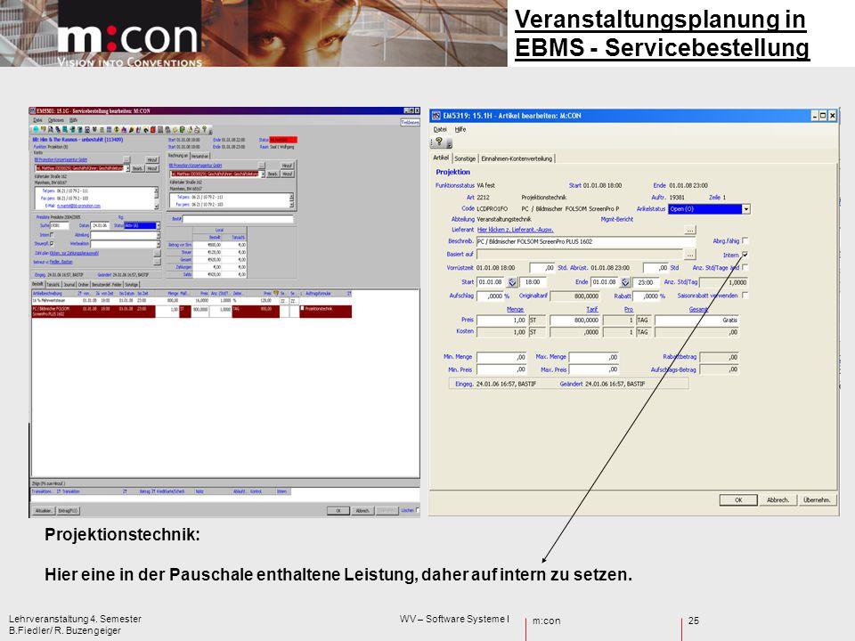 m:con Lehrveranstaltung 4. Semester WV – Software Systeme I B.Fiedler/ R. Buzengeiger 25 Veranstaltungsplanung in EBMS - Servicebestellung Projektions