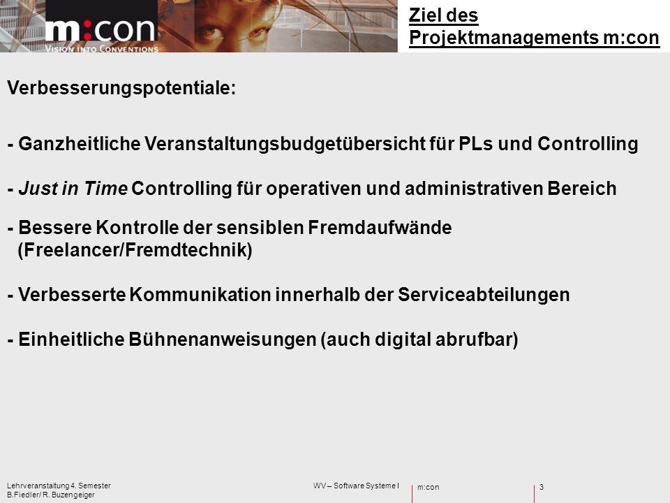 m:con Lehrveranstaltung 4. Semester WV – Software Systeme I B.Fiedler/ R. Buzengeiger 3 Ziel des Projektmanagements m:con Verbesserungspotentiale: - G