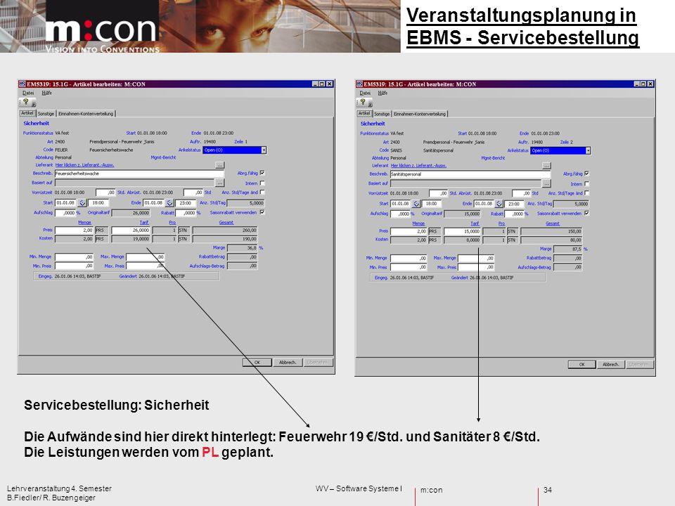 m:con Lehrveranstaltung 4. Semester WV – Software Systeme I B.Fiedler/ R. Buzengeiger 34 Veranstaltungsplanung in EBMS - Servicebestellung Servicebest