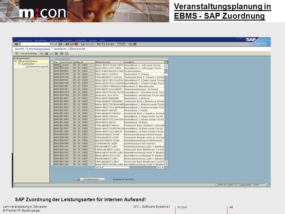 m:con Lehrveranstaltung 4. Semester WV – Software Systeme I B.Fiedler/ R. Buzengeiger 46 SAP Zuordnung der Leistungsarten für internen Aufwand! Verans