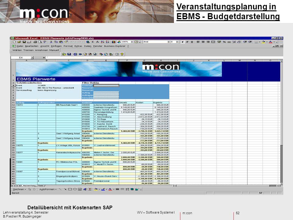 m:con Lehrveranstaltung 4. Semester WV – Software Systeme I B.Fiedler/ R. Buzengeiger 52 Detailübersicht mit Kostenarten SAP Veranstaltungsplanung in