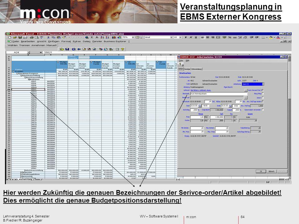 m:con Lehrveranstaltung 4. Semester WV – Software Systeme I B.Fiedler/ R. Buzengeiger 64 Hier werden Zukünftig die genauen Bezeichnungen der Serivce-o