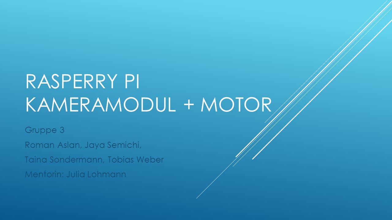 RASPERRY PI KAMERAMODUL + MOTOR Gruppe 3 Roman Aslan, Jaya Semichi, Taina Sondermann, Tobias Weber Mentorin: Julia Lohmann