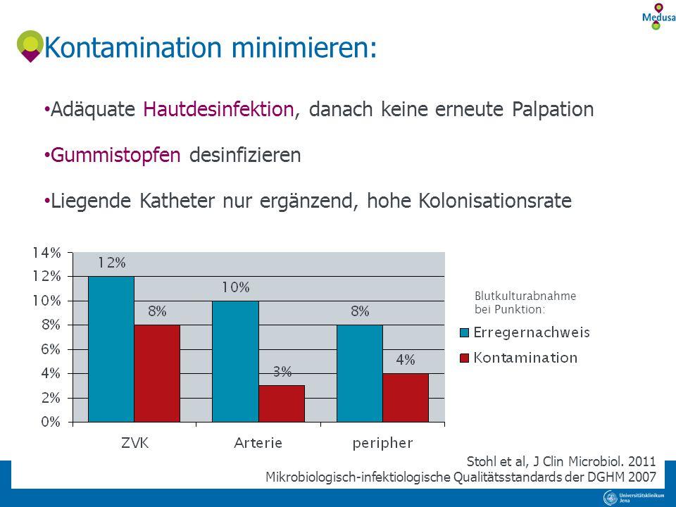 Blutkulturabnahme bei Punktion: Kontamination minimieren: Adäquate Hautdesinfektion, danach keine erneute Palpation Gummistopfen desinfizieren Liegend
