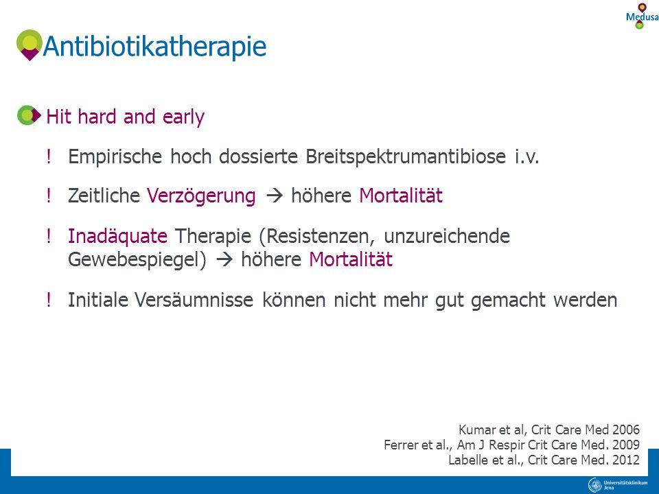 Antibiotikatherapie Hit hard and early !Empirische hoch dossierte Breitspektrumantibiose i.v. !Zeitliche Verzögerung  höhere Mortalität !Inadäquate T
