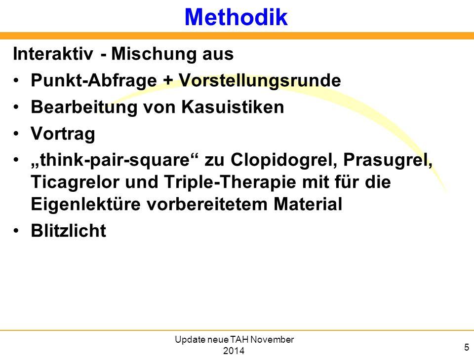 """5 Methodik Interaktiv - Mischung aus Punkt-Abfrage + Vorstellungsrunde Bearbeitung von Kasuistiken Vortrag """"think-pair-square"""" zu Clopidogrel, Prasugr"""
