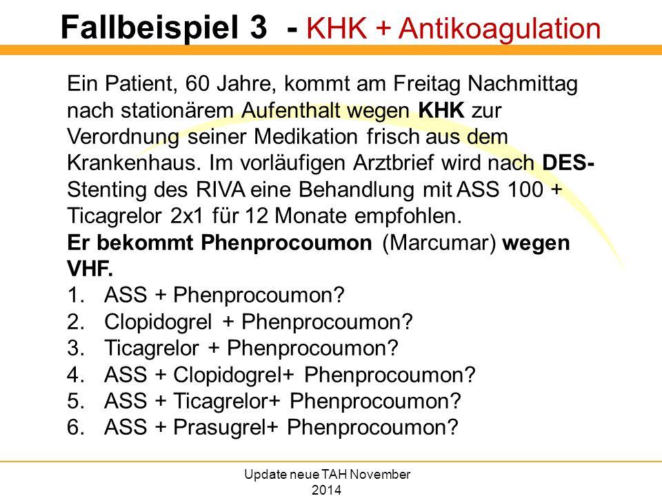 Fallbeispiel 3 - KHK + Antikoagulation Ein Patient, 60 Jahre, kommt am Freitag Nachmittag nach stationärem Aufenthalt wegen KHK zur Verordnung seiner