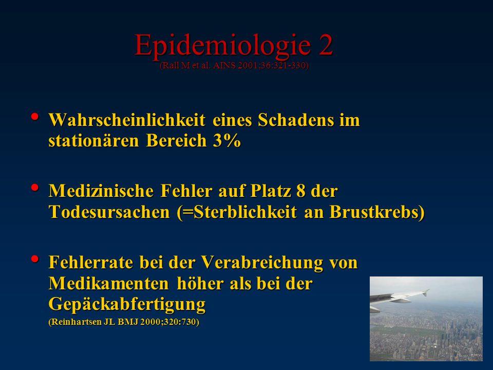Epidemiologie (Weingart SN et al. BMJ 2000;320:774-7) 44.000 - 98.000 Tote durch Behandlungsfehler pro Jahr (in USA) –ü–ü–ü–übertragen auf BRD: 16.000
