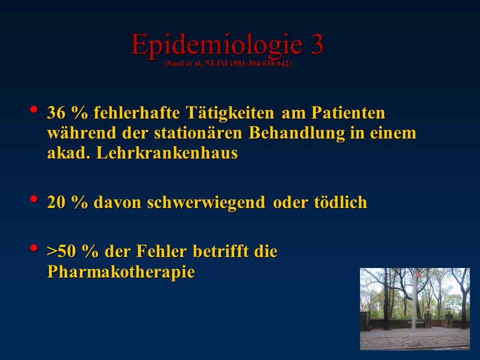 Epidemiologie 2 (Rall M et al. AINS 2001;36:321-330) Wahrscheinlichkeit eines Schadens im stationären Bereich 3% Wahrscheinlichkeit eines Schadens im
