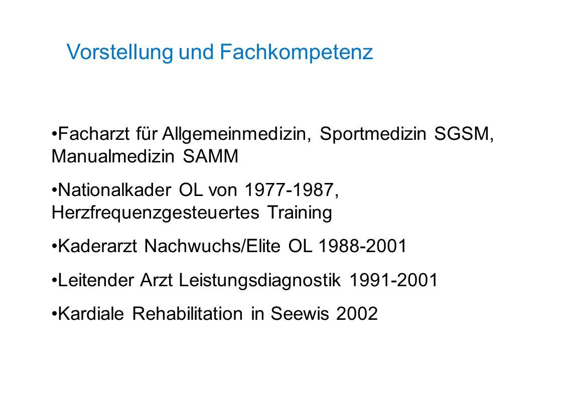 Vorstellung und Fachkompetenz Facharzt für Allgemeinmedizin, Sportmedizin SGSM, Manualmedizin SAMM Nationalkader OL von 1977-1987, Herzfrequenzgesteue