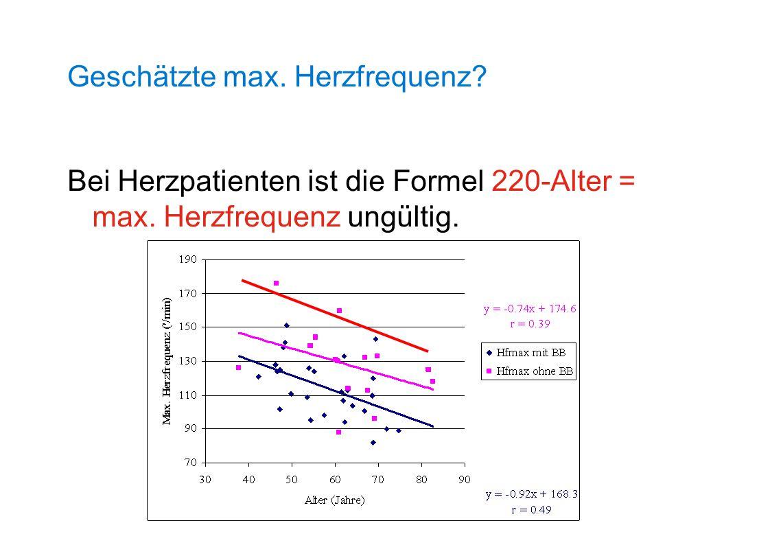 Bei Herzpatienten ist die Formel 220-Alter = max. Herzfrequenz ungültig. Geschätzte max. Herzfrequenz?