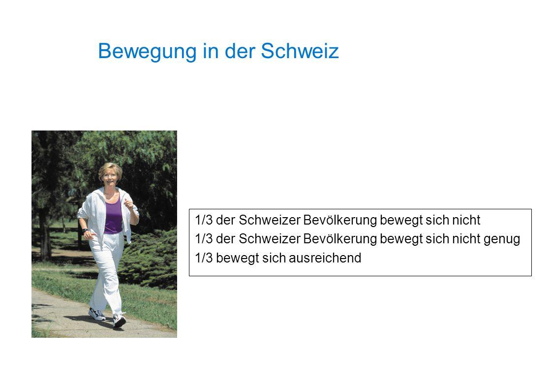 1/3 der Schweizer Bevölkerung bewegt sich nicht 1/3 der Schweizer Bevölkerung bewegt sich nicht genug 1/3 bewegt sich ausreichend Bewegung in der Schw