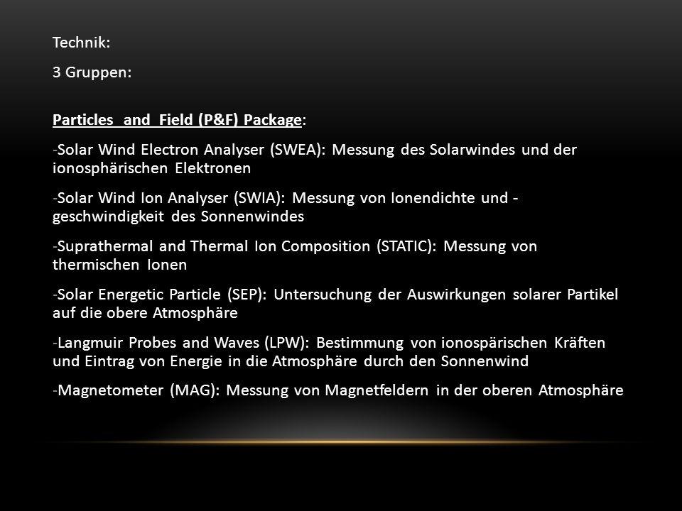 Technik: 3 Gruppen: Particles and Field (P&F) Package: -Solar Wind Electron Analyser (SWEA): Messung des Solarwindes und der ionosphärischen Elektronen -Solar Wind Ion Analyser (SWIA): Messung von Ionendichte und - geschwindigkeit des Sonnenwindes -Suprathermal and Thermal Ion Composition (STATIC): Messung von thermischen Ionen -Solar Energetic Particle (SEP): Untersuchung der Auswirkungen solarer Partikel auf die obere Atmosphäre -Langmuir Probes and Waves (LPW): Bestimmung von ionospärischen Kräften und Eintrag von Energie in die Atmosphäre durch den Sonnenwind -Magnetometer (MAG): Messung von Magnetfeldern in der oberen Atmosphäre