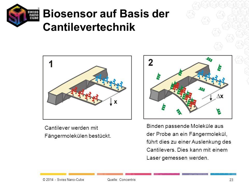 © 2014 - Swiss Nano-Cube Cantilever werden mit Fängermolekülen bestückt.