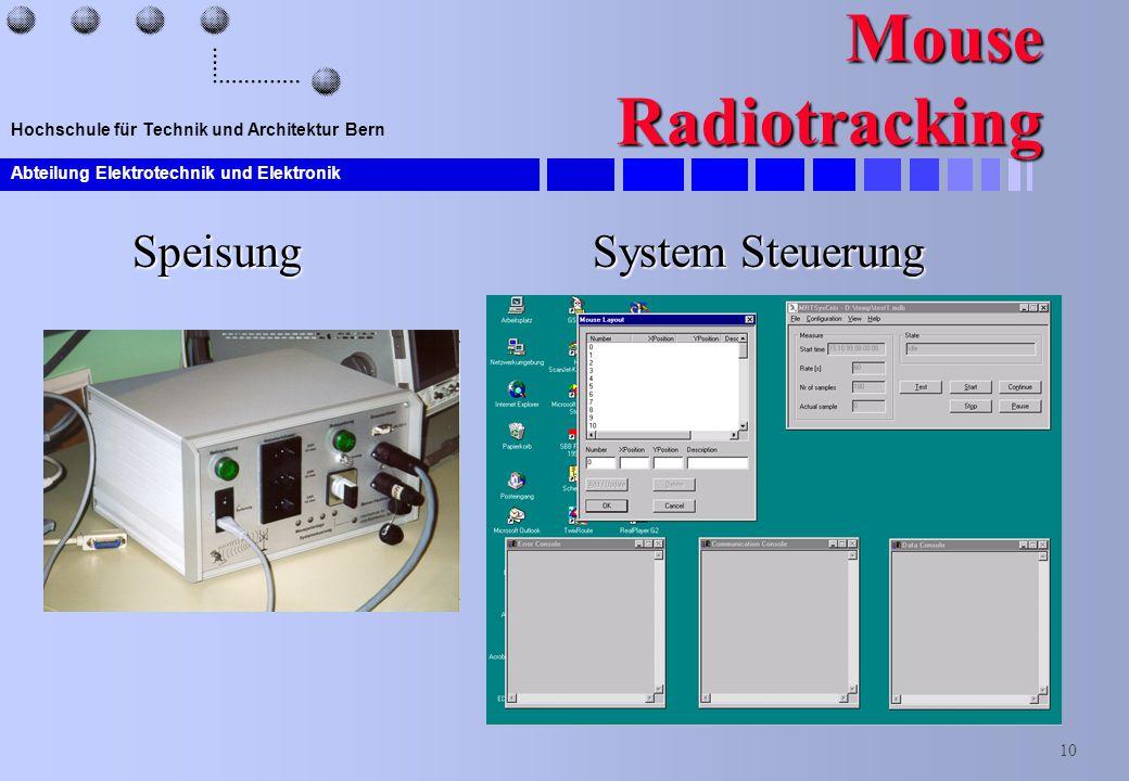 Abteilung Elektrotechnik und Elektronik 10 Hochschule für Technik und Architektur Bern Mouse Radiotracking Speisung System Steuerung