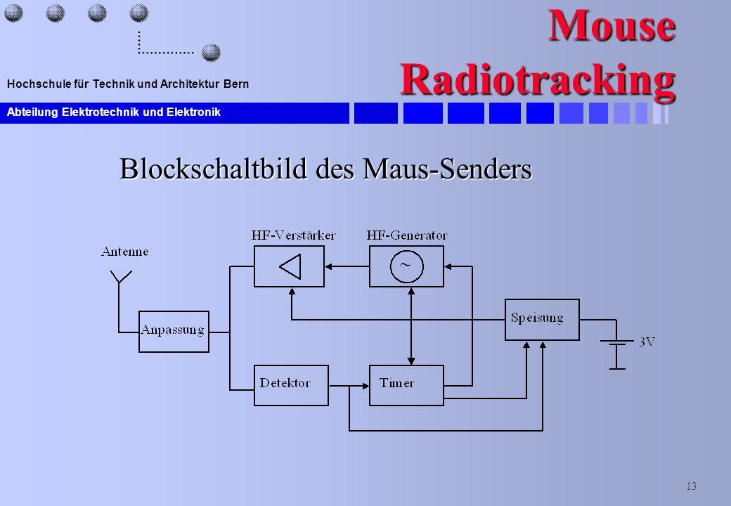 Abteilung Elektrotechnik und Elektronik 13 Hochschule für Technik und Architektur Bern Mouse Radiotracking Blockschaltbild des Maus-Senders