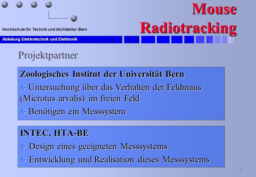 Abteilung Elektrotechnik und Elektronik 2 Hochschule für Technik und Architektur Bern Mouse Radiotracking INTEC, HTA-BE  Design eines geeigneten Mess