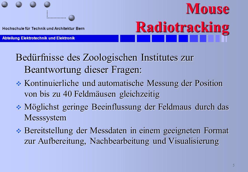 Abteilung Elektrotechnik und Elektronik 5 Hochschule für Technik und Architektur Bern Mouse Radiotracking Bedürfnisse des Zoologischen Institutes zur