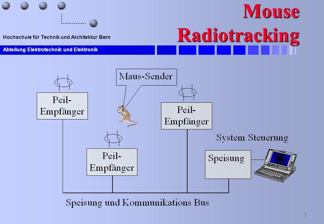 Abteilung Elektrotechnik und Elektronik 7 Hochschule für Technik und Architektur Bern Mouse Radiotracking