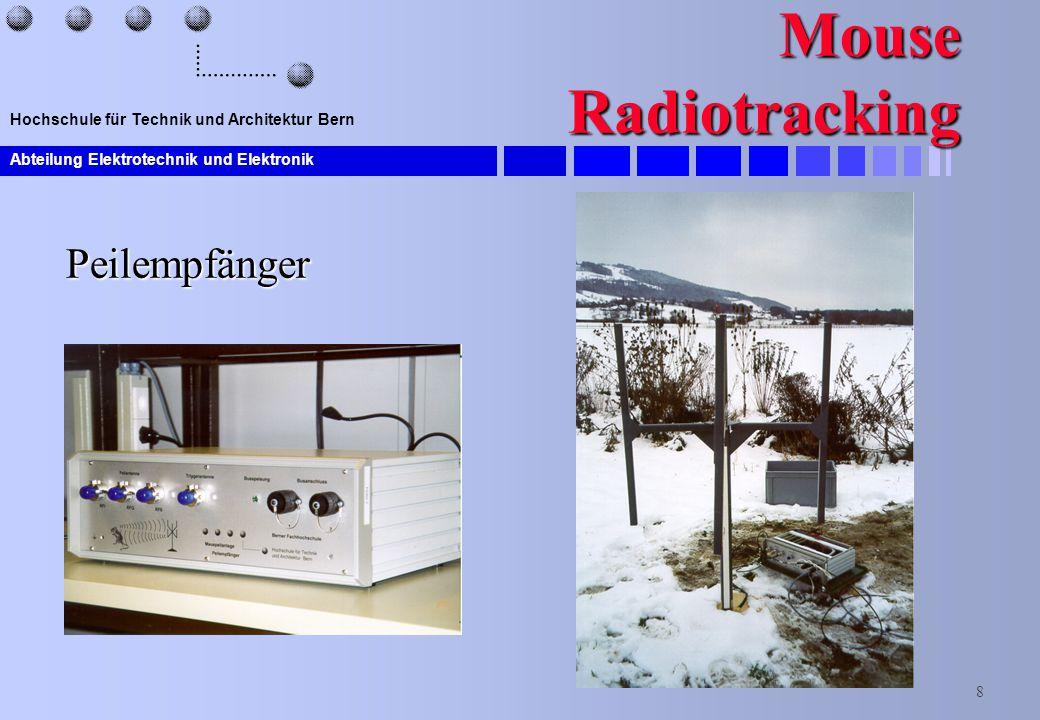 Abteilung Elektrotechnik und Elektronik 8 Hochschule für Technik und Architektur Bern Mouse Radiotracking Peilempfänger