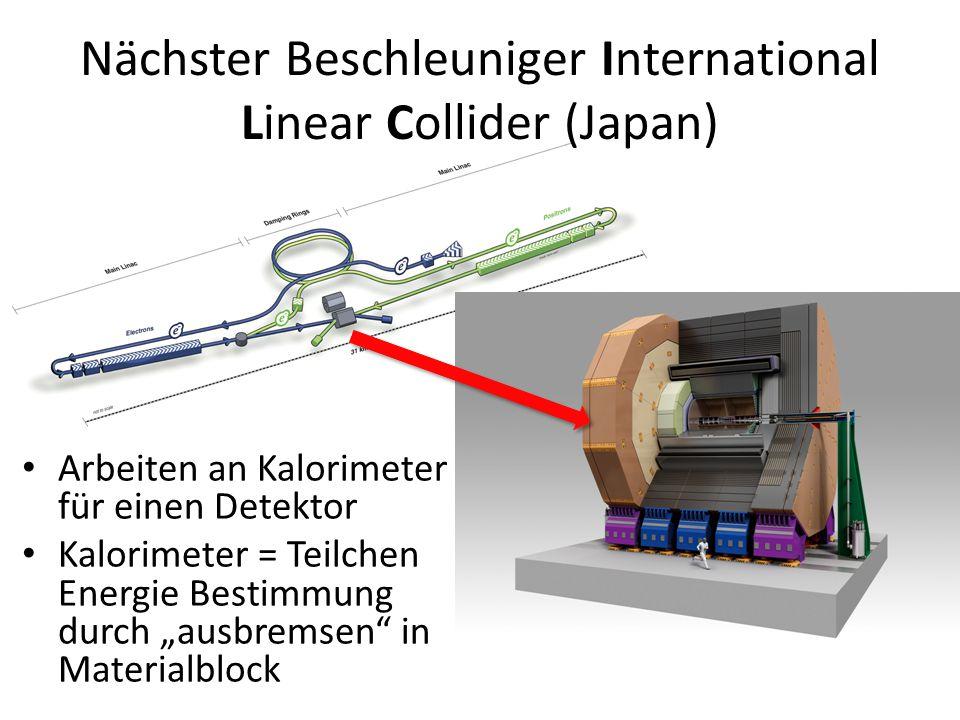 """Arbeiten an Kalorimeter für einen Detektor Kalorimeter = Teilchen Energie Bestimmung durch """"ausbremsen in Materialblock Nächster Beschleuniger International Linear Collider (Japan)"""