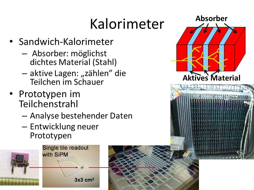 """Kalorimeter Sandwich-Kalorimeter – Absorber: möglichst dichtes Material (Stahl) – aktive Lagen: """"zählen die Teilchen im Schauer Prototypen im Teilchenstrahl – Analyse bestehender Daten – Entwicklung neuer Prototypen Absorber Aktives Material"""