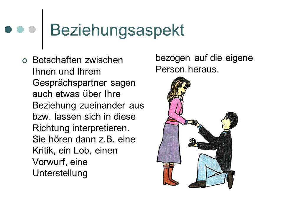 Beziehungsaspekt Botschaften zwischen Ihnen und Ihrem Gesprächspartner sagen auch etwas über Ihre Beziehung zueinander aus bzw.