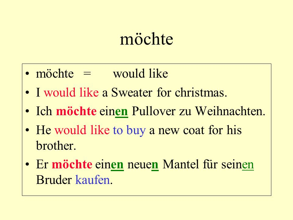 möchte möchte=would like I would like a Sweater for christmas. Ich möchte einen Pullover zu Weihnachten. He would like to buy a new coat for his broth
