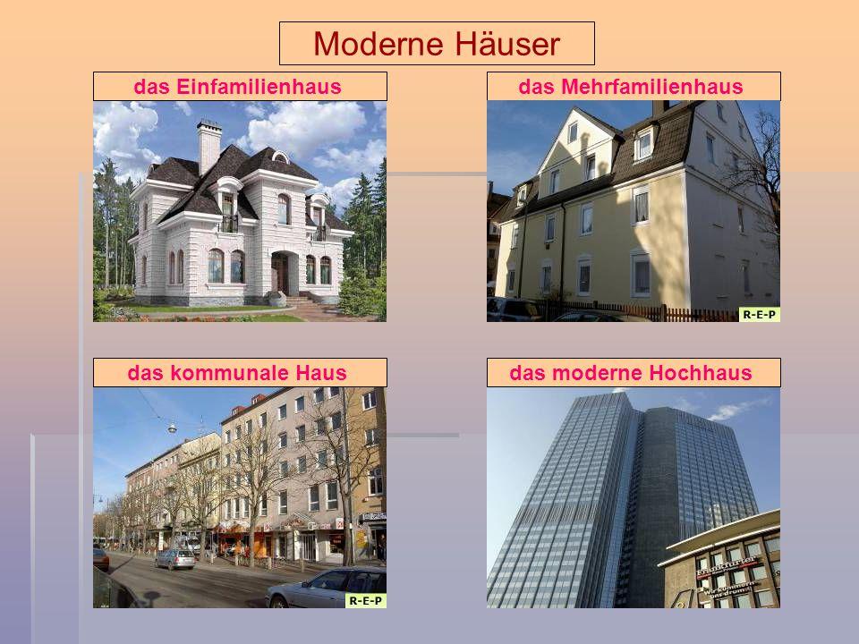 Moderne Häuser das Einfamilienhausdas Mehrfamilienhausdas kommunale Hausdas moderne Hochhaus