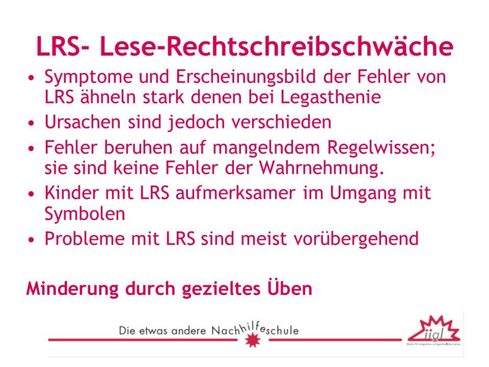 LRS- Lese-Rechtschreibschwäche Symptome und Erscheinungsbild der Fehler von LRS ähneln stark denen bei Legasthenie Ursachen sind jedoch verschieden Fe