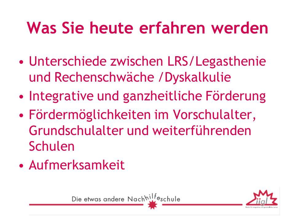 Zur Aktualität der Thematik Einwohner in Deutschland: 82.000.0000 Mädchen von 6 – 14: 3.855.000 Jungen von 6-14: 4.096.000 ( Angaben: Statistisches Bundesamt Deutschland) 15 % der Weltbevölkerung sind von Legasthenie betroffen In Deutschland brauchen 1.600.000 Kinder im schulpflichtigen Alter von 6-14 dringend Hilfe bezüglich Legasthenie und Dyskalkulie( ohne LRS ) 6.000.000 Erwachsene haben größte Probleme bei den Kulturtechniken des Lesen, Schreibens oder Rechnens