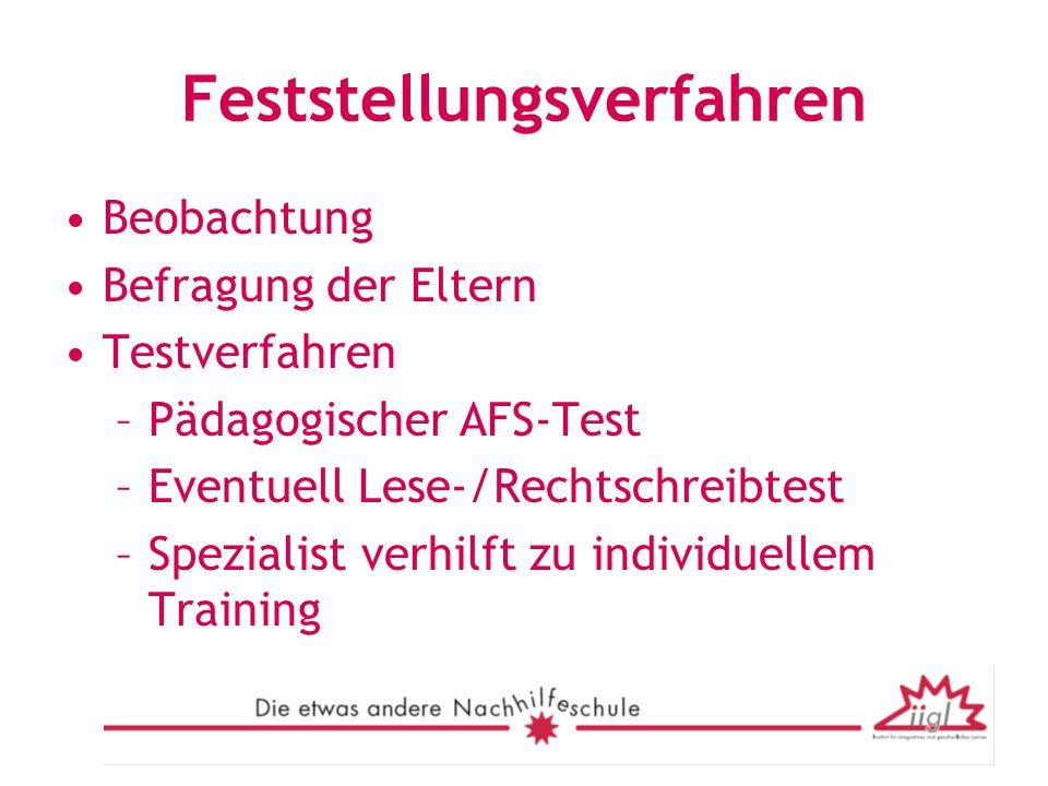 Feststellungsverfahren Beobachtung Befragung der Eltern Testverfahren –Pädagogischer AFS-Test –Eventuell Lese-/Rechtschreibtest –Spezialist verhilft z