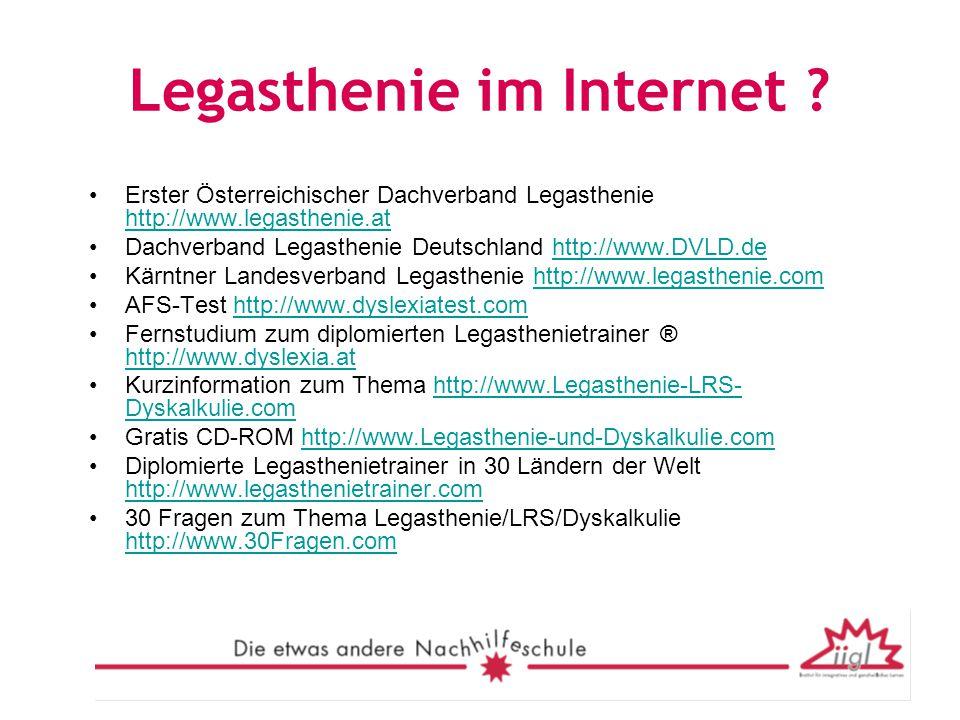 Legasthenie im Internet ? Erster Österreichischer Dachverband Legasthenie http://www.legasthenie.at http://www.legasthenie.at Dachverband Legasthenie