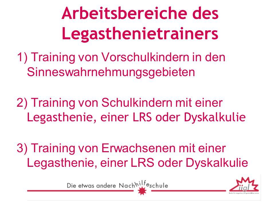 Arbeitsbereiche des Legasthenietrainers 1) Training von Vorschulkindern in den Sinneswahrnehmungsgebieten 2) Training von Schulkindern mit einer Legas