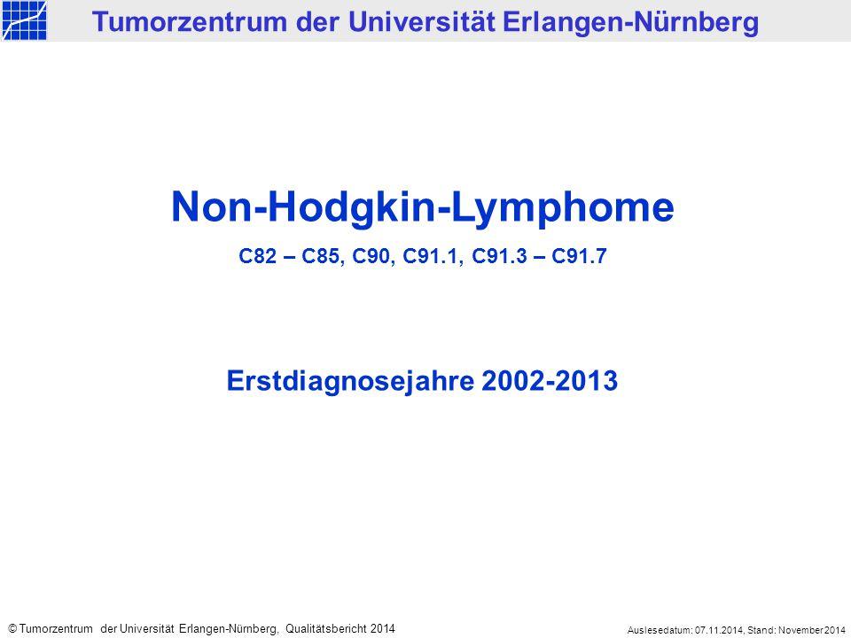 2002-2013 8.426 < 2002 4.494 Mittelfranken 6.211 Nicht Mittelfranken 2.215 Klinisches Krebsregister des Tumorzentrums Erlangen-Nürnberg Tumorentität: Non-Hodgkin-Lymphome, C82 – C85, C90, C91.1, C91.3 – C91.7 Gesamt: 12.920 (ED 1978 bis 2013) Datenbestand Klinisches Krebsregister: NHL Erstdiagnosejahr: Wohnort: Klinische Meldungen 5.320 Ausschließlich Todesbescheinigungen 891 Meldetyp: Auslesedatum: 07.11.2014, Stand: November 2014 © Tumorzentrum der Universität Erlangen-Nürnberg, Qualitätsbericht 2014