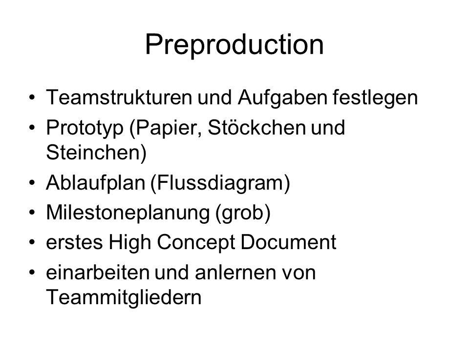 Preproduction Teamstrukturen und Aufgaben festlegen Prototyp (Papier, Stöckchen und Steinchen) Ablaufplan (Flussdiagram) Milestoneplanung (grob) erstes High Concept Document einarbeiten und anlernen von Teammitgliedern