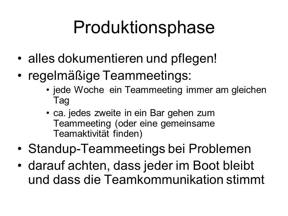 Produktionsphase alles dokumentieren und pflegen! regelmäßige Teammeetings: jede Woche ein Teammeeting immer am gleichen Tag ca. jedes zweite in ein B
