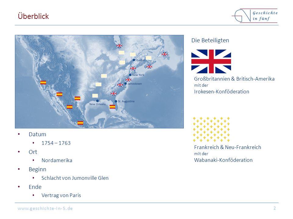 www.geschichte-in-5.de Überblick Datum 1754 – 1763 Ort Nordamerika Beginn Schlacht von Jumonville Glen Ende Vertrag von Paris 2 Die Beteiligten Großbr