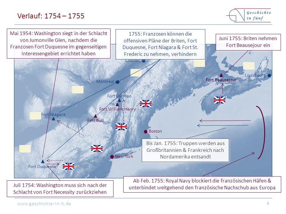 www.geschichte-in-5.de Verlauf: 1754 – 1755 4 Fort Duquesne Fort Beausejour Fort Bull Fort Carillon Fort William Henry Louisbourg Boston New York Mont