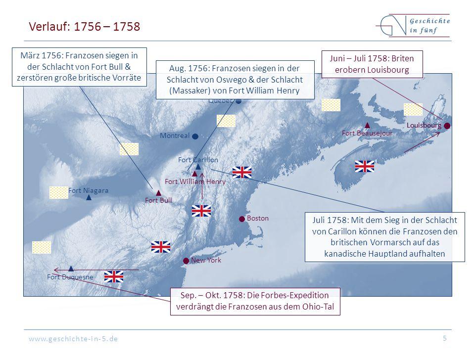 www.geschichte-in-5.de Verlauf: 1756 – 1758 5 Fort Duquesne Fort Bull Fort Carillon Fort William Henry Louisbourg Boston New York Montreal Quebec Fort