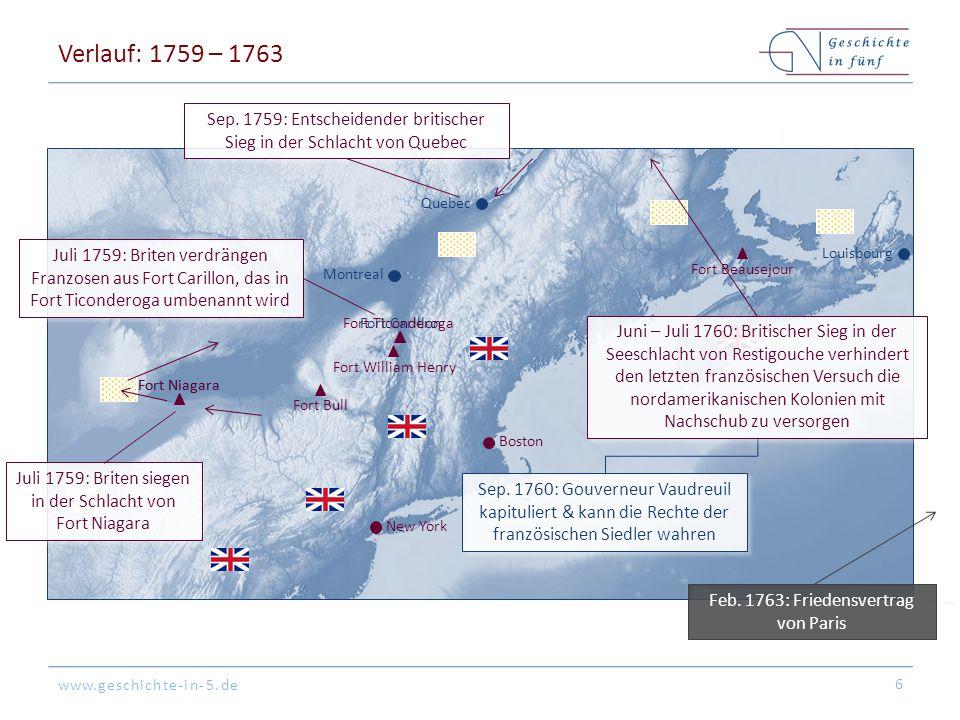 www.geschichte-in-5.de Verlauf: 1759 – 1763 6 Fort Bull Fort Carillon Fort William Henry Louisbourg Boston New York Montreal Quebec Fort Niagara Juli