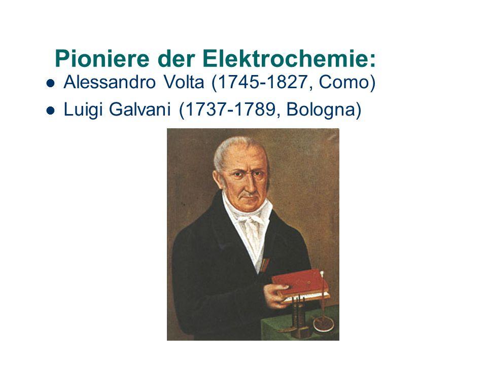 Pioniere der Elektrochemie: Alessandro Volta (1745-1827, Como) Luigi Galvani (1737-1789, Bologna)