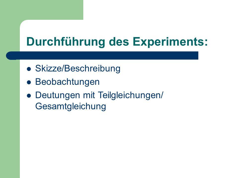 Durchführung des Experiments: Skizze/Beschreibung Beobachtungen Deutungen mit Teilgleichungen/ Gesamtgleichung