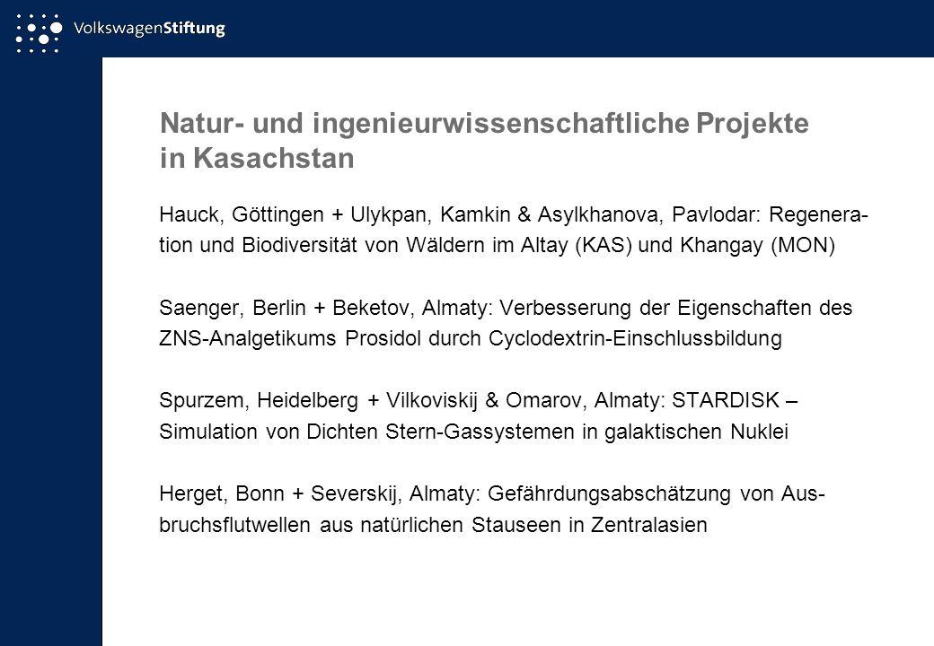 Natur- und ingenieurwissenschaftliche Projekte in Kasachstan Hauck, Göttingen + Ulykpan, Kamkin & Asylkhanova, Pavlodar: Regenera- tion und Biodiversi