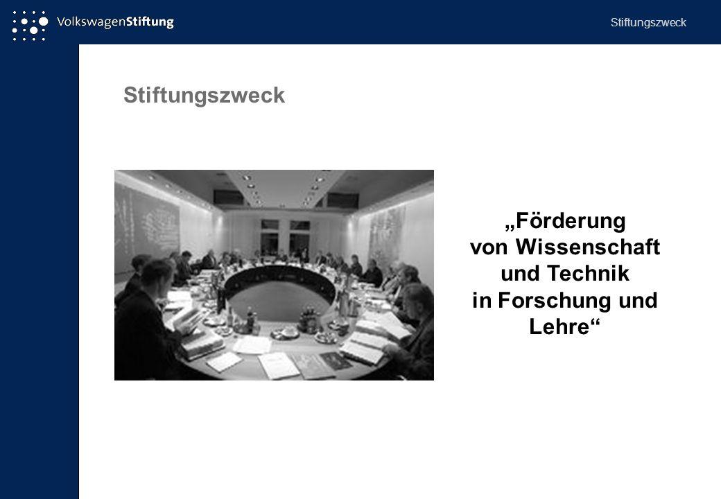 """Stiftungszweck """"Förderung von Wissenschaft und Technik in Forschung und Lehre"""" Stiftungszweck"""