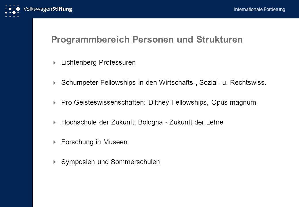 Programmbereich Personen und Strukturen  Lichtenberg-Professuren  Schumpeter Fellowships in den Wirtschafts-, Sozial- u. Rechtswiss.  Pro Geisteswi
