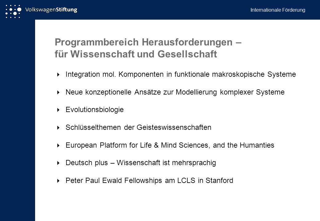 Programmbereich Herausforderungen – für Wissenschaft und Gesellschaft  Integration mol. Komponenten in funktionale makroskopische Systeme  Neue konz