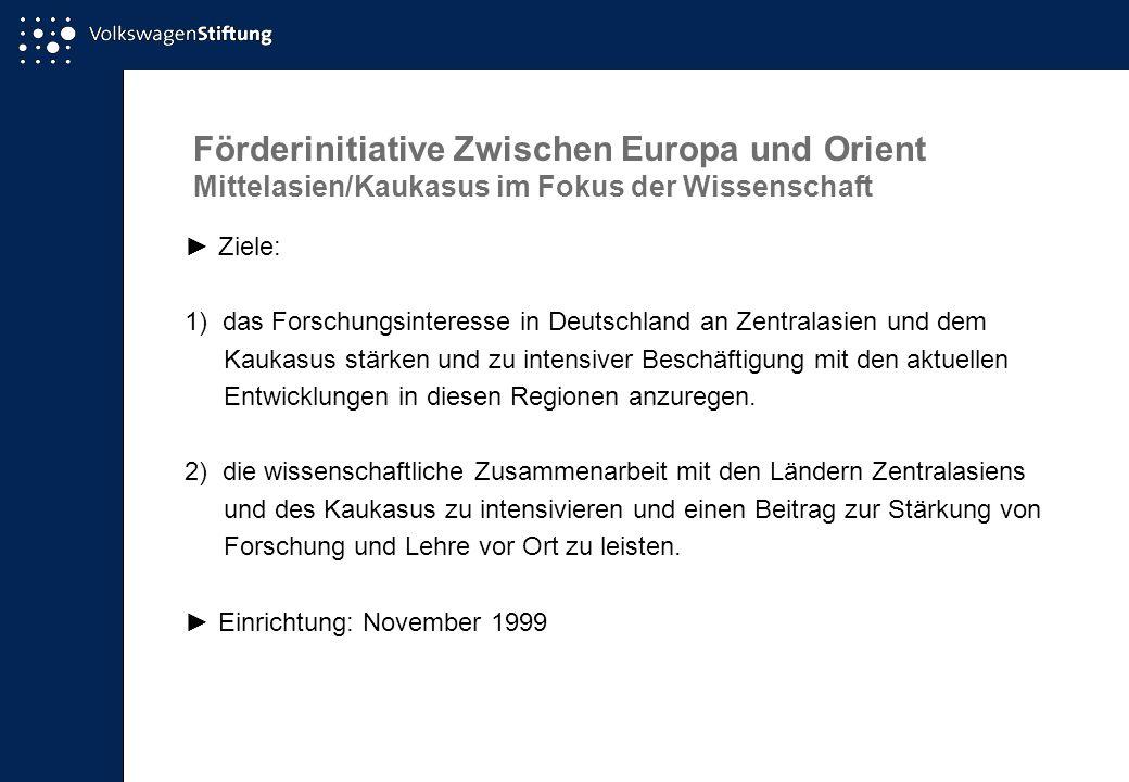 Förderinitiative Zwischen Europa und Orient Mittelasien/Kaukasus im Fokus der Wissenschaft ►Ziele: 1) das Forschungsinteresse in Deutschland an Zentra